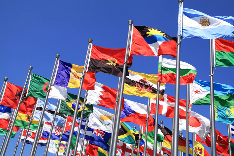 International flags on poles